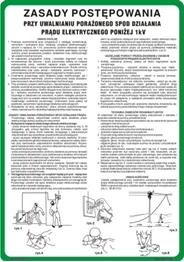 Obrazek Zasady postępowania przy uwalnianiu porażonego spod działania prądu elektrycznego do 1 kV 422 XO - 198