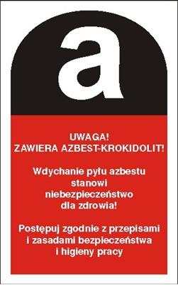 Piktogram Uwaga zawiera azbest-krokidolit (700-17)