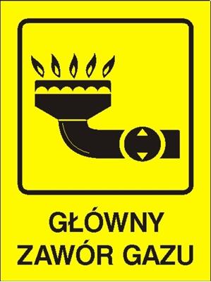 Znak Główny zawór gazu (870-01)