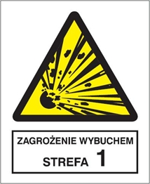 Obrazek dla kategorii Znak Zagrożenie wybuchem. Strefa 1 (221-05)