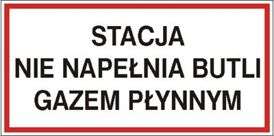 Znak Stacja nie napełnia butli gazem płynnym (829-07)