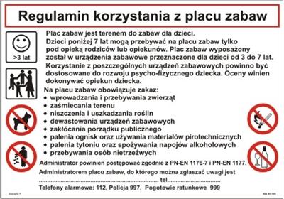422 XO - 183 Regulamin korzystania z placu zabaw (422 XO-183)