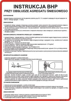 422 XO - 143 Instrukcja BHP przy obsłudze agregatu śniegowego (422 XO-143)