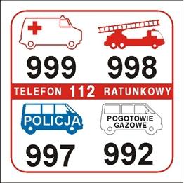 Obrazek dla kategorii Tabliczki telefonów alarmowych