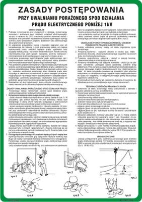 422 XO - 198 Zasady postępowania przy uwalnianiu porażonego spod działania prądu elektrycznego do 1 kV (422 XO-198)