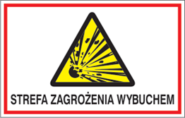 Obrazek dla kategorii Znak Strefa zagrożenia wybuchem. (827-04)
