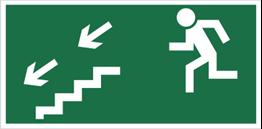 Obrazek dla kategorii Znak kierunek do wyjścia drogi ewakuacyjnej schodami w dół (na lewo) (105)