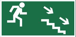 Obrazek dla kategorii Znak Kierunek do wyjścia drogi ewakuacyjnej schodami w dół (na prawo) (106)