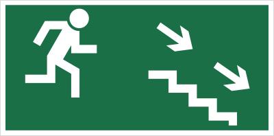 Znak Kierunek do wyjścia drogi ewakuacyjnej schodami w dół (na prawo) (106)