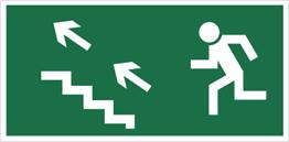 Obrazek dla kategorii Znak Kierunek do wyjścia drogi ewakuacyjnej schodami w górę (na lewo) (107)