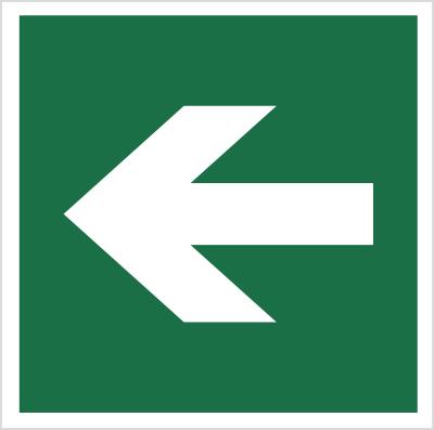 Znak Kierunek drogi ewakuacyjnej (znak do stosowania tylko z innymi znakami) (114)