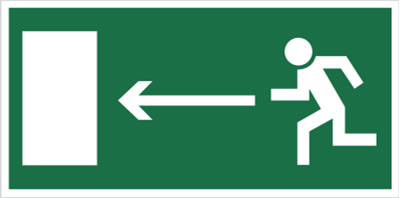 Znak Kierunek do wyjścia drogi ewakuacyjnej (w lewo) (101)