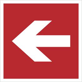 Obrazek dla kategorii Znak Kierunek do miejsca rozmieszczenia sprzętu pożarniczego lub urządzenia ostrzegającego (znaki do stosowania tylko razem z innymi znakami) (207)