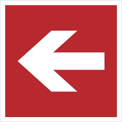 Znak Kierunek do miejsca rozmieszczenia sprzętu pożarniczego lub urządzenia ostrzegającego (znaki do stosowania tylko razem z innymi znakami) (207)