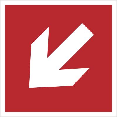 Znak Kierunek do miejsca rozmieszczenia sprzętu pożarniczego lub urządzenia ostrzegającego (znaki do stosowania tylko razem z innymi znakami) (208)