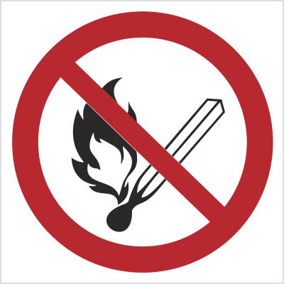 Znak Zakaz używania otwartego ognia i palenia tytoniu (210)