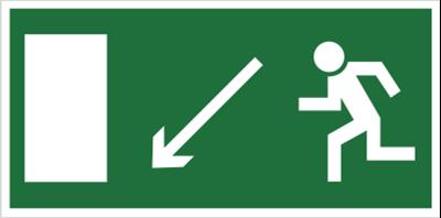 Znak Kierunek do wyjścia drogi ewakuacyjnej w dół w lewo (znak uzupełniający) (101-02)