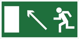 Obrazek dla kategorii Znak Kierunek do wyjścia drogi ewakuacyjnej w górę w lewo (znak uzupełniający) (101-03)