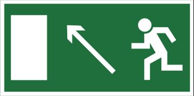 Znak Kierunek do wyjścia drogi ewakuacyjnej w górę w lewo (znak uzupełniający) (101-03)