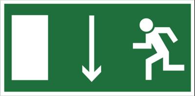 Znak Kierunek do wyjścia drogi ewakuacyjnej w dół (znak uzupełniający) (101-04)
