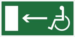Obrazek dla kategorii Znak Kierunek do wyjścia drogi ewakuacyjnej dla niepełnosprawnych w lewo (znak uzupełniający) (101-05)