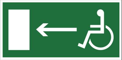 Znak Kierunek do wyjścia drogi ewakuacyjnej dla niepełnosprawnych w lewo (znak uzupełniający) (101-05)