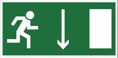 Kierunek do wyjścia drogi ewakuacyjnej w dół (znak uzupełniający) (102-01)