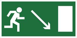 Obrazek dla kategorii Znak Kierunek do wyjścia drogi ewakuacyjnej w dół w prawo (znak uzupełniający) (102-02)