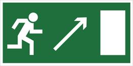 Obrazek dla kategorii Kierunek do wyjścia drogi ewakuacyjnej w górę w prawo (znak uzupełniający) (102-03)