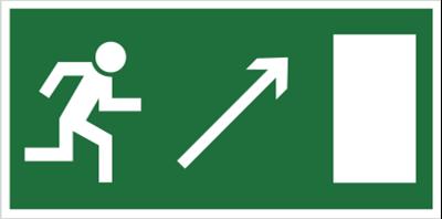 Kierunek do wyjścia drogi ewakuacyjnej w górę w prawo (znak uzupełniający) (102-03)