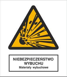 Obrazek dla kategorii Znak Niebezpieczeństwo wybuchu - Materiały wybuchowe (216)