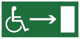 Obrazek dla kategorii Kierunek do wyjścia drogi ewakuacyjnej dla niepełnosprawnych w prawo (znak uzupełniający) (102-05)