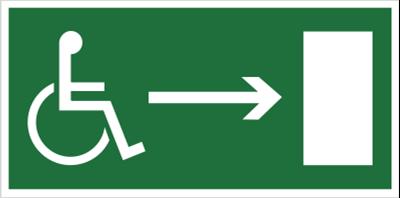 Kierunek do wyjścia drogi ewakuacyjnej dla niepełnosprawnych w prawo (znak uzupełniający) (102-05)
