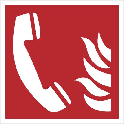 Znak telefon alarmowania pożarowego wg PN-EN ISO 7010 (F06)