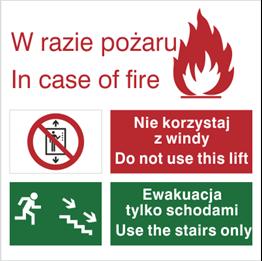 Obrazek dla kategorii Znak Zakaz korzystania z windy w razie pożaru (154)