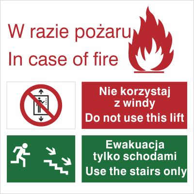 Znak Zakaz korzystania z windy w razie pożaru (154)