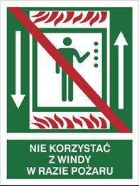 Obrazek dla kategorii Znak Nie korzystać z windy w razie pożaru (154-01)