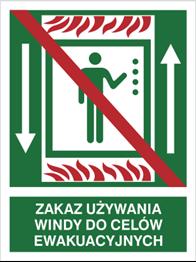 Obrazek dla kategorii Znak Zakaz używania windy do celów ewakuacyjnych (154-02)