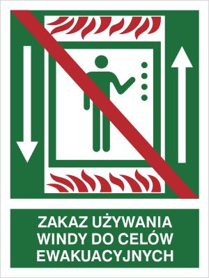 Znak Zakaz używania windy do celów ewakuacyjnych (154-02)