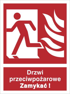 Znak Drzwi przeciwpożarowe. Zamykać! (w lewo) (217-01)