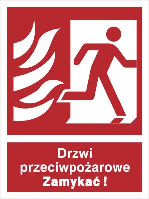 Znak Drzwi przeciwpożarowe. Zamykać! (w prawo) (217-10)