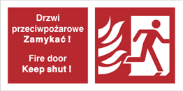 Obrazek dla kategorii Znak Drzwi przeciwpożarowe. Zamykać! Fire door Keep shut! (w prawo) (217-20)