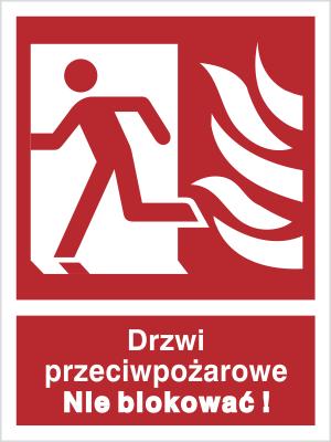 Znak Drzwi przeciwpożarowe. Nie blokować! (w lewo) (217-04)