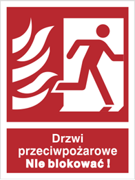 Obrazek dla kategorii Znak Drzwi przeciwpożarowe. Nie blokować! (w prawo) (217-40)