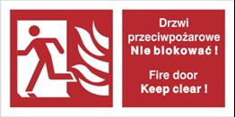 Obrazek dla kategorii Znak Drzwi przeciwpożarowe. Nie blokować! Fire door Keep clear! (w lewo) (217-05)