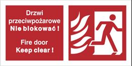 Obrazek dla kategorii Znak Drzwi przeciwpożarowe. Nie blokować! Fire door Keep clear! (w prawo) (217-50)
