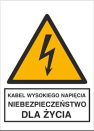 Obrazek dla kategorii Znak Kabel wysokiego napięcia. Niebezpieczeństwo dla życia (330-03)