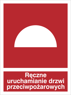 Znak Ręczne uruchamianie drzwi przeciwopożarowych (227-01)