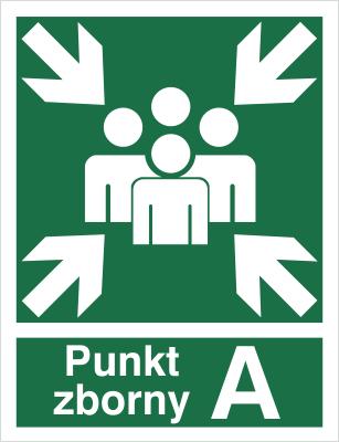 Znak Miejsce zbiórki do ewakuacji - punkt zborny A (120-01)