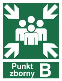 Obrazek dla kategorii Znak Miejsce zbiórki do ewakuacji - punkt zborny B (120-02)